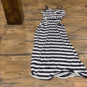 Navy and white striped maxi dress